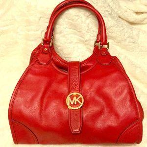 Michael Kors red leather satchel